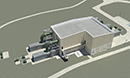 Computer rendering of building as seen from above.