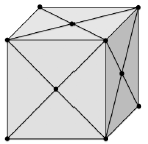 A cube with triangular sections marked off by vertexes and edges on each side