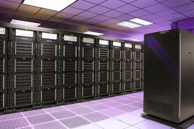 Ruby Supercomputer, with tinted purple light